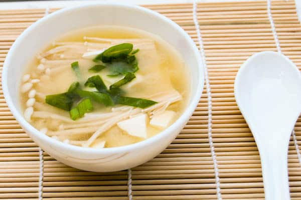 Miso Soup with Tofu and Enoki Mushroom