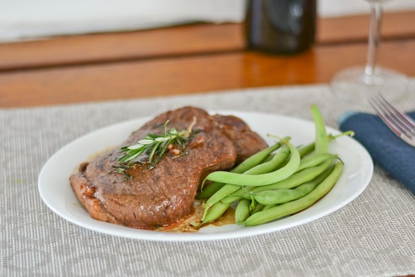 Lamb Steak with Rosemary and Red Wine Sauce