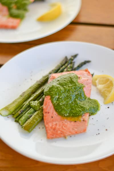 Baked Marinated Salmon Fillet with Basil Walnut Pesto