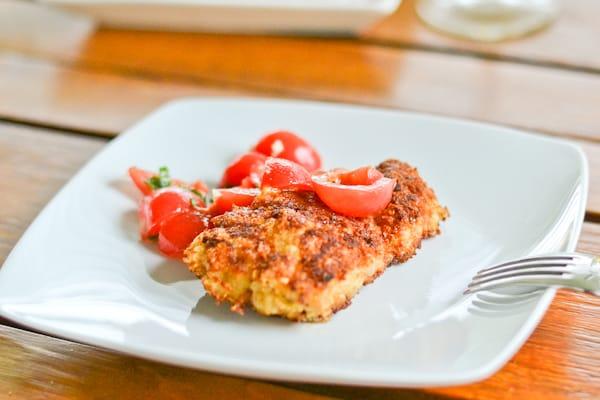 Parmesan Chicken with Cherry Tomato Salad - Salu Salo Recipes