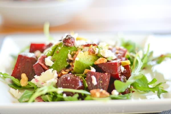 Beet, Avocado and Goat Cheese Arugula Salad