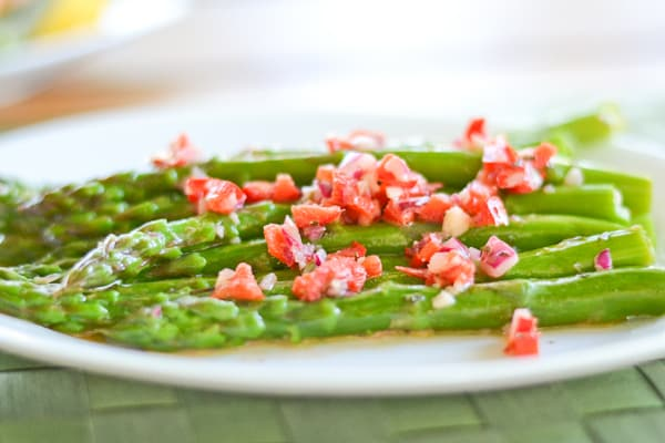 Asparagus with Red Pepper Vinaigrette