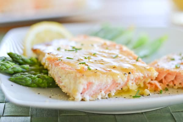 Crusted Salmon with Honey Mustard Sauce