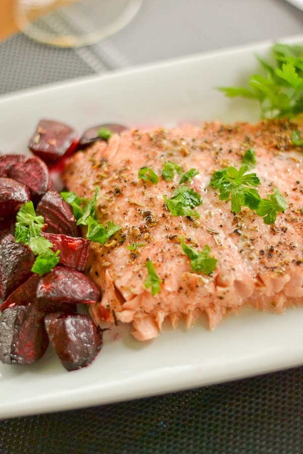 Spiced-Crusted Roast Salmon with Ginger Beets