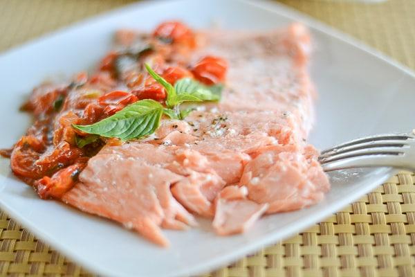 Salmon with Sweet Cherry Tomato Sauce