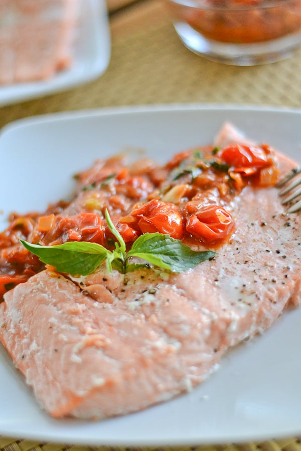 Salmon with Sweet Cherry Tomato Sauce - Salu Salo Recipes