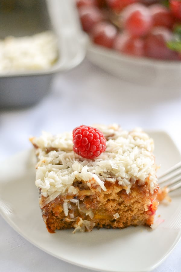 Fruit Cocktail Cake With Coconut Topping