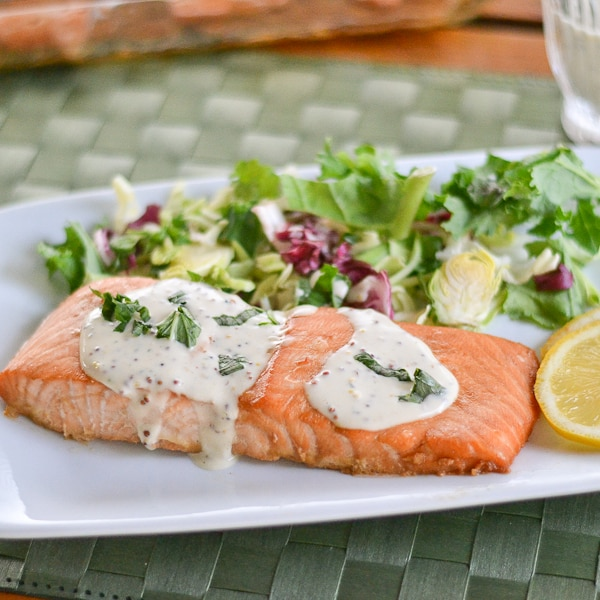 Salmon with Creole Mustard Sauce - Salu Salo Recipes