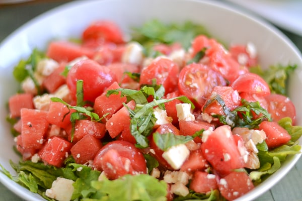 Tomato And Watermelon Salad With Feta Cheese Recipe — Dishmaps