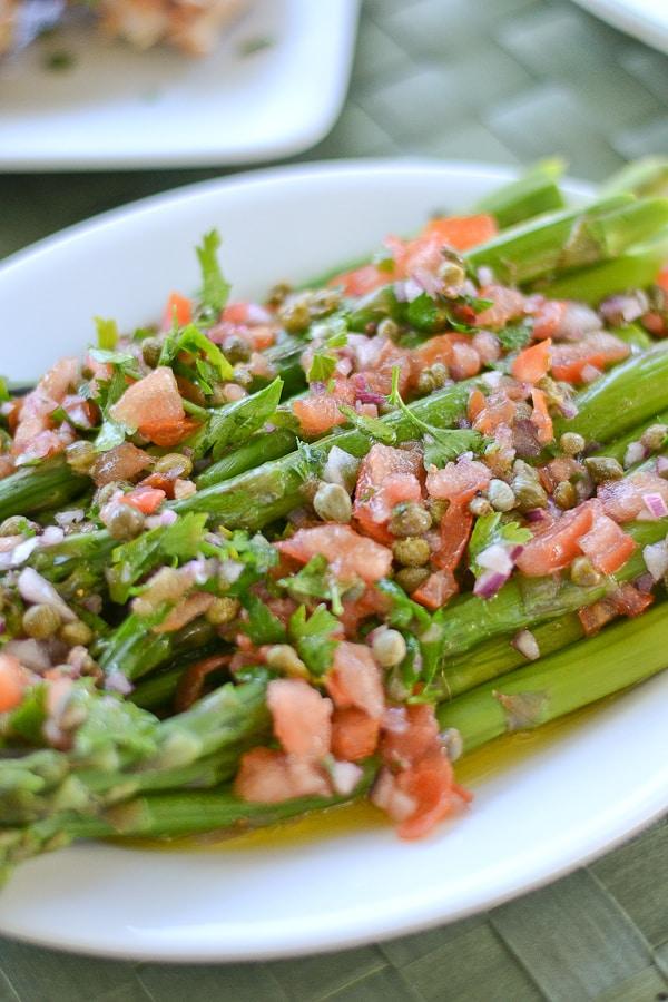 Asparagus with Catalan Salsa Vinaigrette