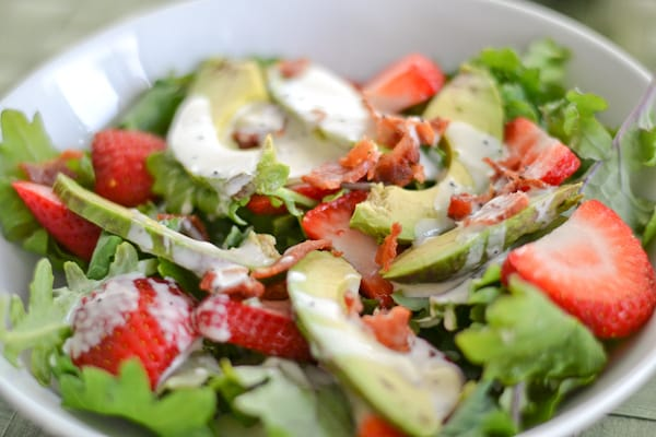 Strawberry Avocado Kale Salad with Bacon Poppy Seed Dressing