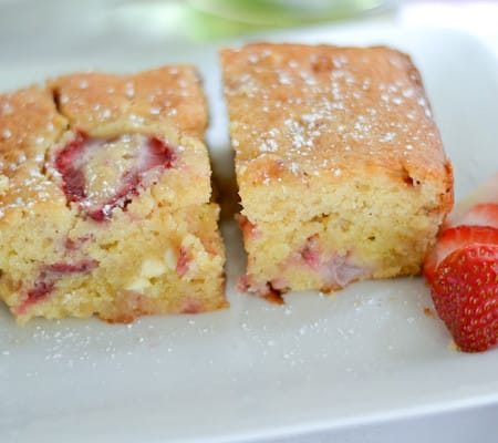 White Chocolate Chip Cake with Strawberries