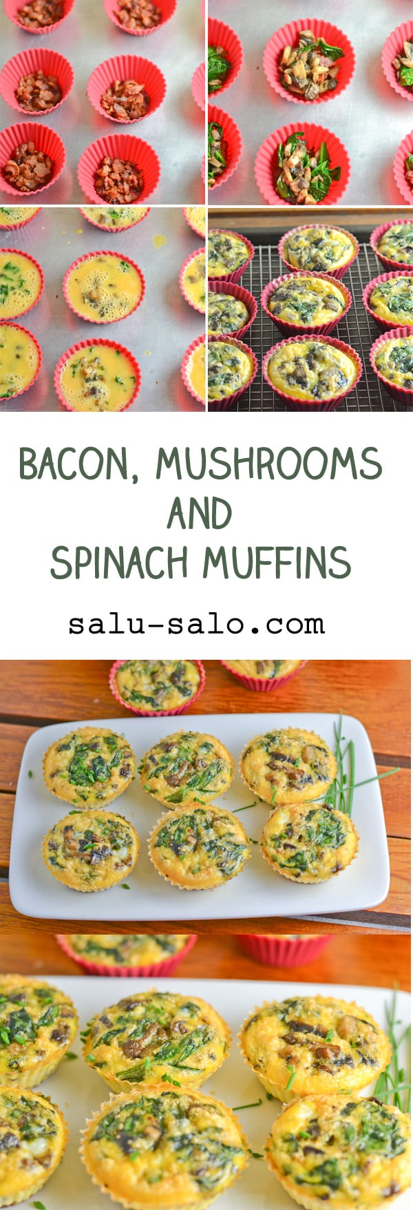 Bacon, Mushrooms and Spinach Muffins