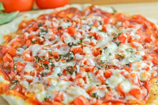 Capicollo,Tomato and Basil Thin Crust Pizza