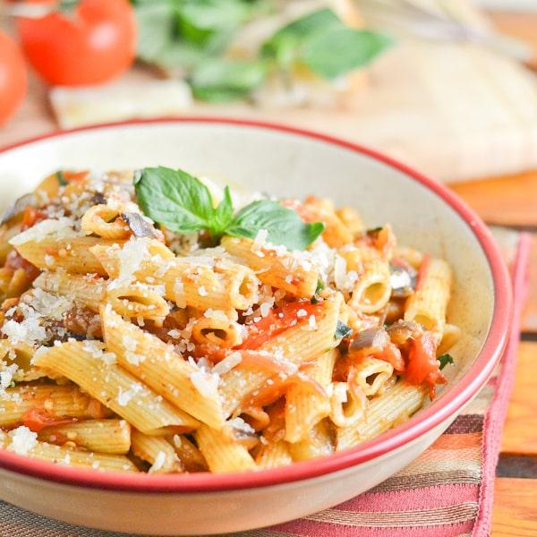 Penne with Eggplant, Tomato & Basil - Salu Salo Recipes