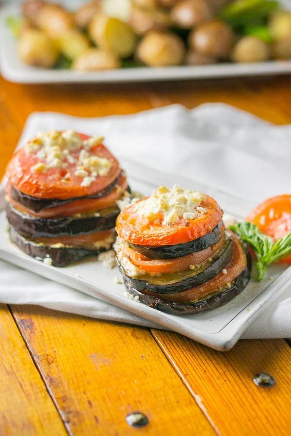 Eggplant with Tomato, Basil and Feta