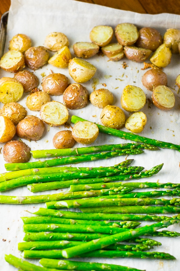 Rosemary Roasted Baby Potatoes and Asparagus