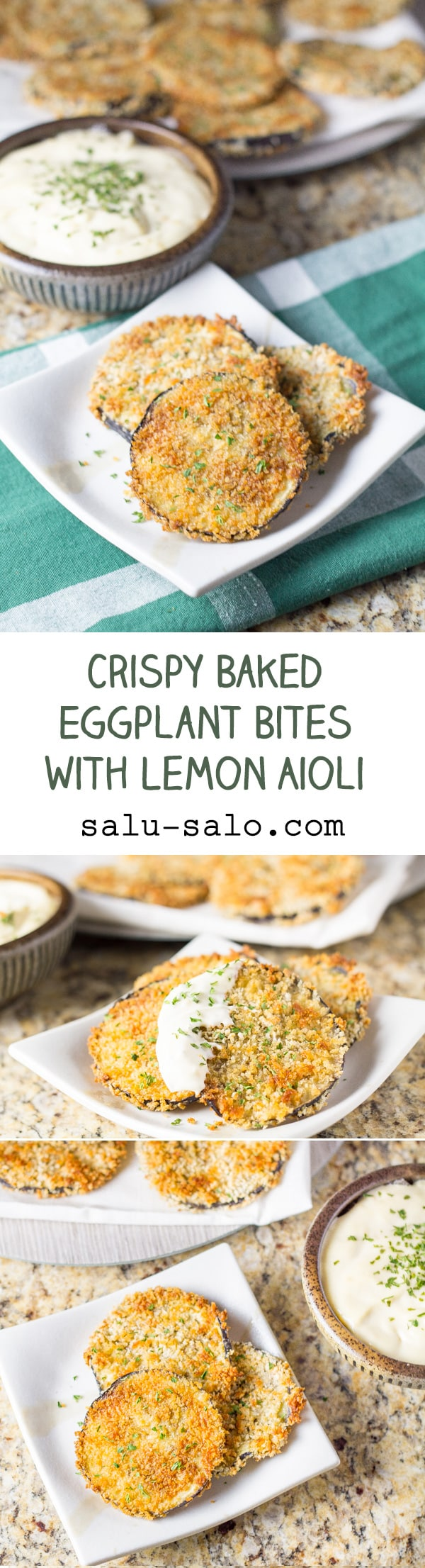 Crispy Baked Eggplant Bites with Lemon Aiol
