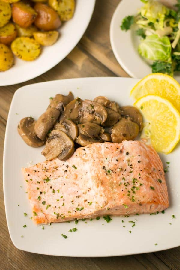 Oven Steamed Salmon with Mushrooms