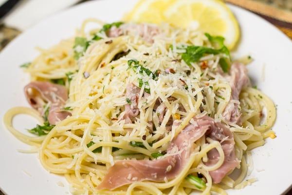 Pasta with Prosciutto, Lemon, and Arugula