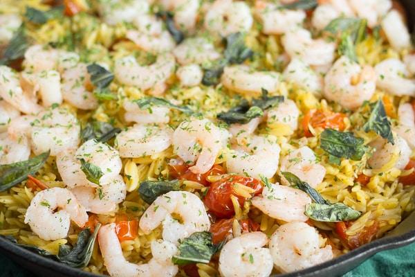 Shrimp Orzo with Tomato and Basil