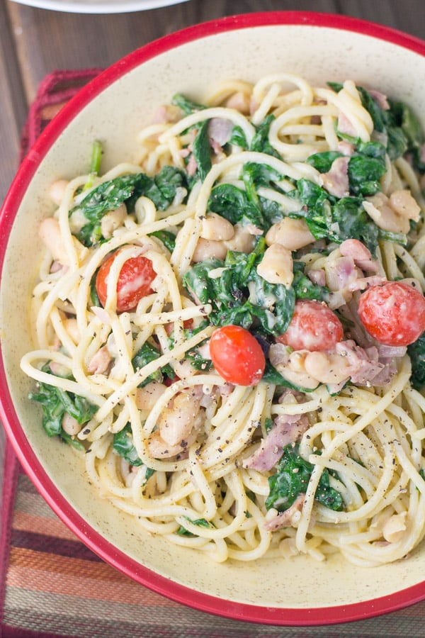 Summertime Carbonara with Tomatoes, Bacon & Beans
