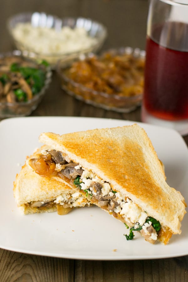 Caramelized Onion, Mushroom and Spinach Sandwich