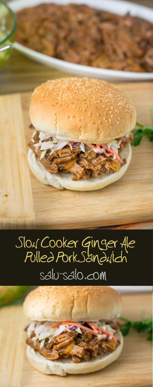 Slow Cooker Ginger Ale Pulled Pork Sandwich
