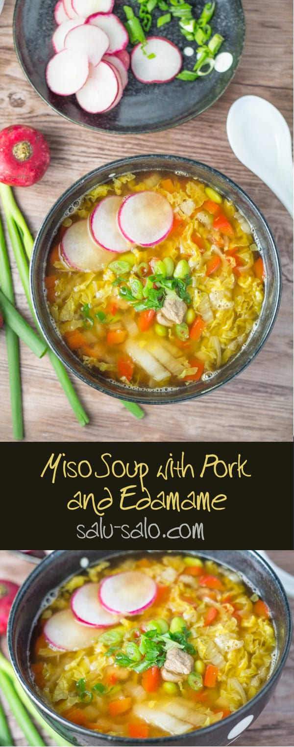 Miso Soup with Pork and Edamame