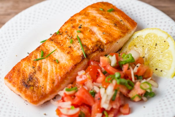 Pan Grilled Salmon With Tomato Salsa Salu Salo Recipes