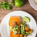 Crispy Pan Grilled Salmon with Avocado Lime Salsa