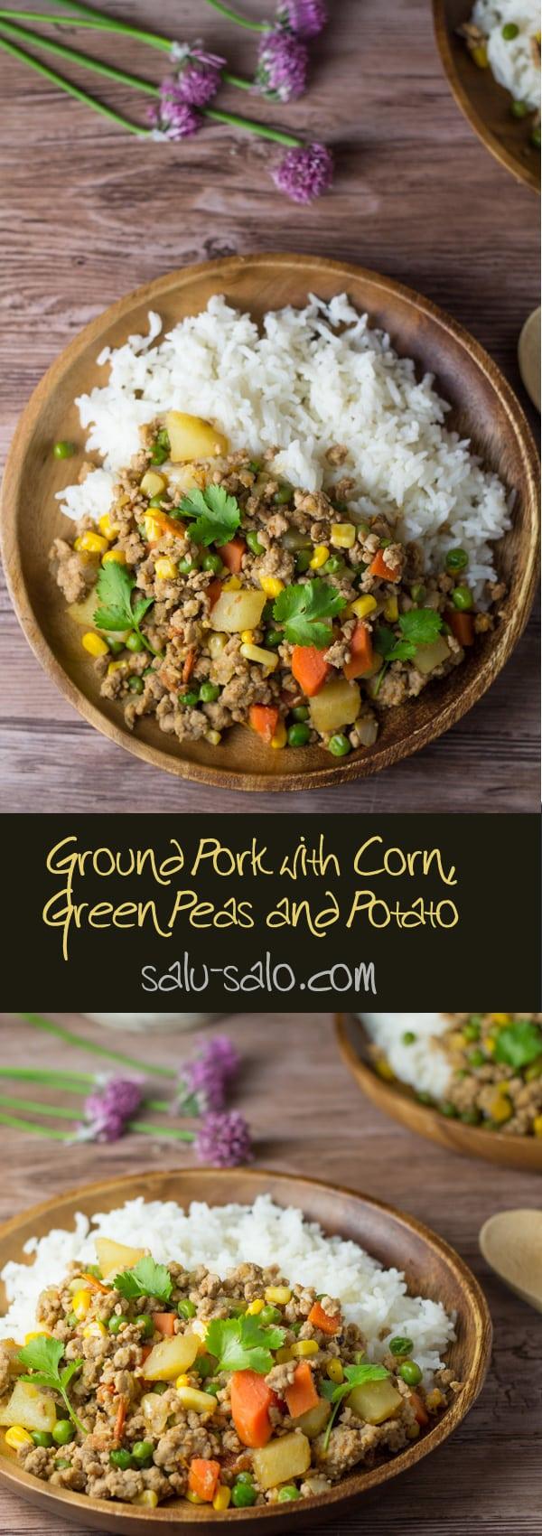 Ground Pork with Corn, Green Peas and Potato