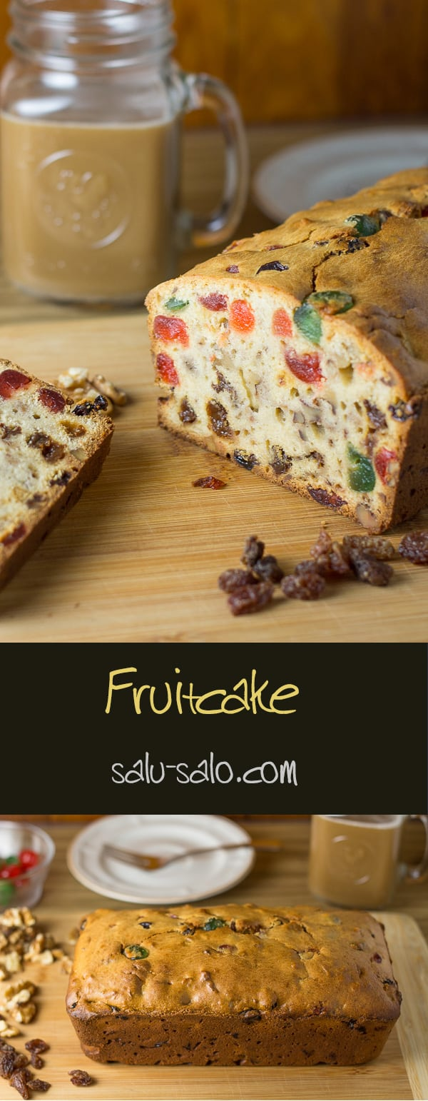Fruitcake - 2 images combined one long image with cut loaf and one with the full loaf